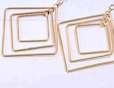 Dangle Clip on Earrings no Pierced Statement Layered Square Chandelier Drop Prom Girl Gold tone