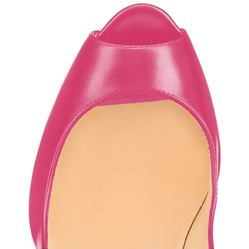 Dress YDN Pink Pumps Office High Toe Peep Thick on Women Shoes Heels Slip ZqwAqxr5nB