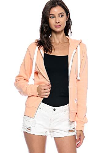(Urban Look Womens Active Long Sleeve Fleece Zip Up Hoodie (Medium, B1 Solid Lt. Orange))