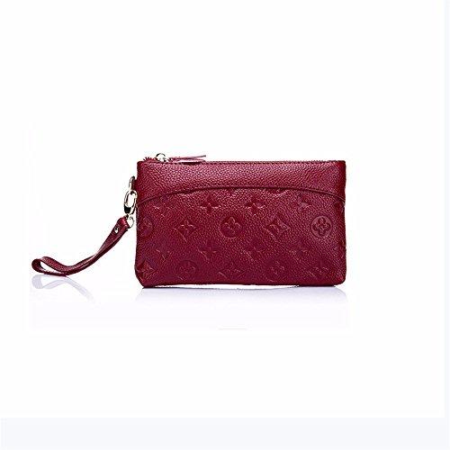 Leder Handtasche einfache Fashion Make-up-Tasche mit Reißverschluss Leder hand Baotou Schicht Rindsleder Handtasche, 20,5 * 1,5 * 12 cm Wein rot