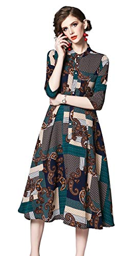 Shineflow Women's Vintage Floral Printed Lotus Sleeves Elastic Waist Pleated Swing Cocktail Party Midi Dress (Green dots, S)