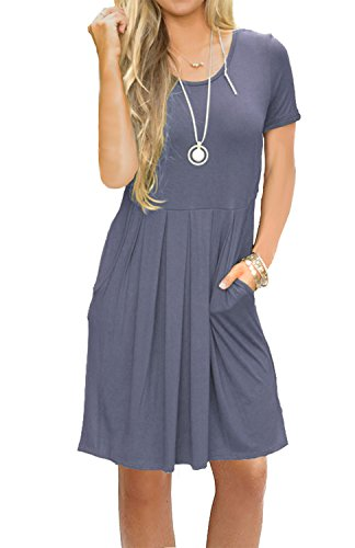 AUSELILY Women's Short Sleeve Pockets Pleated Loose Swing T-Shirt Dress Purple Gray M -