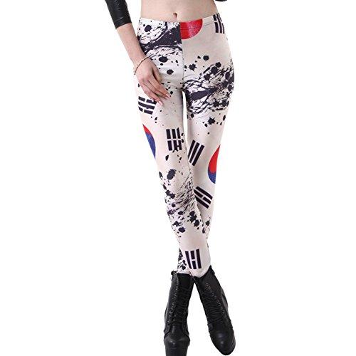 Joyhy Women's Plus Size Flag Digital 3D Printed Leggings Pants Footless Tights Korea Flag S