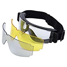 Airsoft X800 Tactical Goggle, Shatterproof Safety Glasses Gx1000, Black/Yellow/Transparent