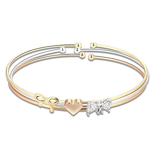 AMDXD Jewelry Silver Plated Charm Bracelet Women Bracelets Tricolor Heart Bow White Chain Length 19CM