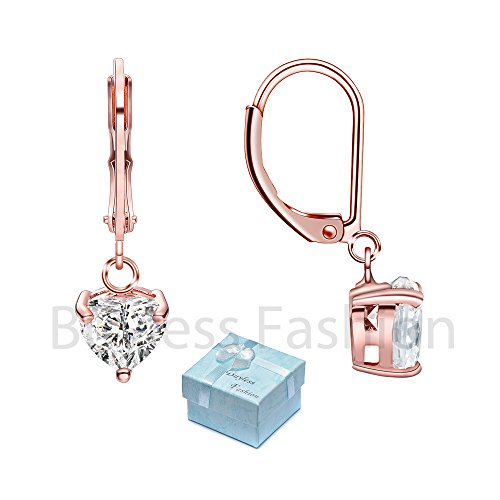 Buyless Fashion Hypoallergenic Surgical Steel Leverback Rose Gold Earring with Dangle CZ Stud- Heart-Rose Gold