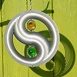Edelstahl Windspiel - ORBIT YIN YANG 200 - Ø 200 mm - durchgefärbte Glaskugeln Ø30mm - inkl. Nylonschnur, Haken und Kugellagerwirbel