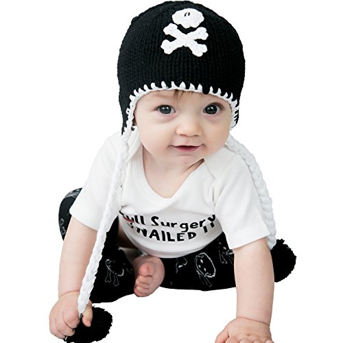 Huggalugs Girls or Boys Pirate Skull Baby Beanie Hat in Black or Pink (Small 0-6 months, Black) -
