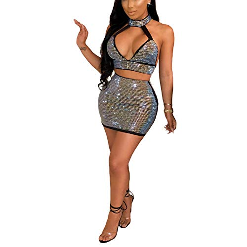 Womens Two Piece Set Sexy Sequin Crop Top with Sparkle Mini Skirt Club Outfits Black M