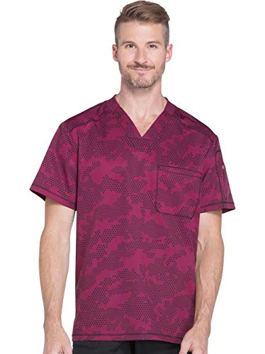 Dickies Dynamix Men's V-Neck Geometric Print Scrub Top Xx-Large Print