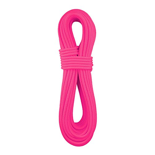 BlueWater Ropes 9.7mm Lightning Pro Standard Dynamic Single Rope (Solid Neon Pink, 70M)
