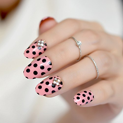 Amazon.com : Wave Point Pink UV Fake Nails Black Dot 3D Rhinestones Pre Design Small Round False Nail Tips Daily Wear Nails Full Cover Z796 : Beauty