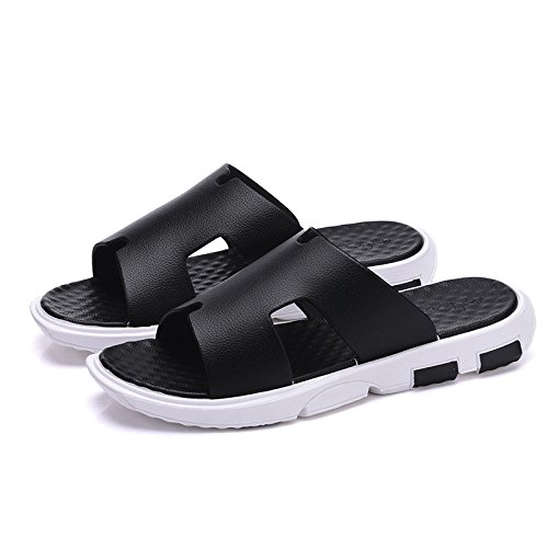 FankouZapatillas de verano masculino baño baño antideslizante interior suave, húmedo y espeso home men's cool verano ,44, negro zapatillas.