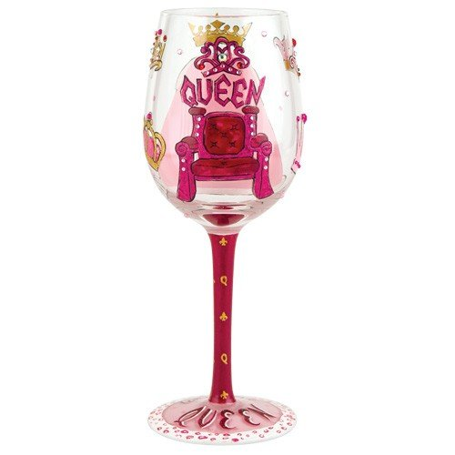 "Designs by Lolita ""Queen"" Hand-painted Artisan Wine Glass, 15 - Queen Crown Mother"
