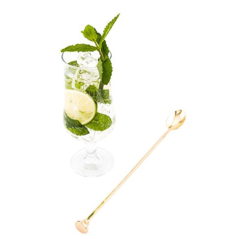 "12"" Stainless Steel Muddler Barspoon: Perfect for Professional Bars or At Home Use - Gold Plated Mixing Spoon With Muddler Top   - 1-CT - Restaurantware"