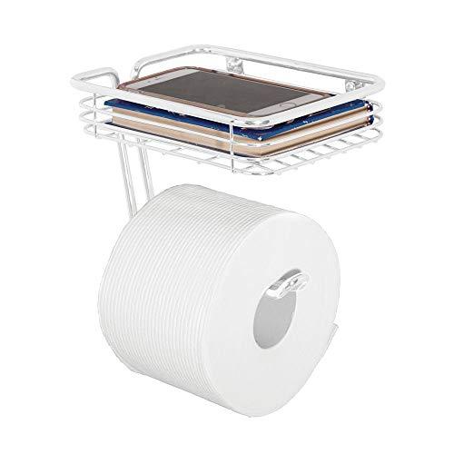 mDesign Toilet Tissue Paper Holder and Multi-Purpose Shelf - Wall Mount Storage Organizer for Bathroom, Holds 1 Mega Rolls - Durable Metal Wire Design - Matte White