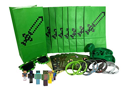 Party Favors for Pixel Miner Gamer Birthday Party Supplies (8-Pack) - Pre-Stuffed Goodie Party Bags Include Bags, Stickers, Wristbands, Mini Character Toys, Balloons and ONE Bonus Pair of Sunglasses