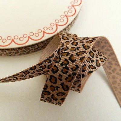Always Knitting And Sewing 3 Metres Leopard Animal Print Grosgrain Ribbon, 10mm, Baby Pink 123
