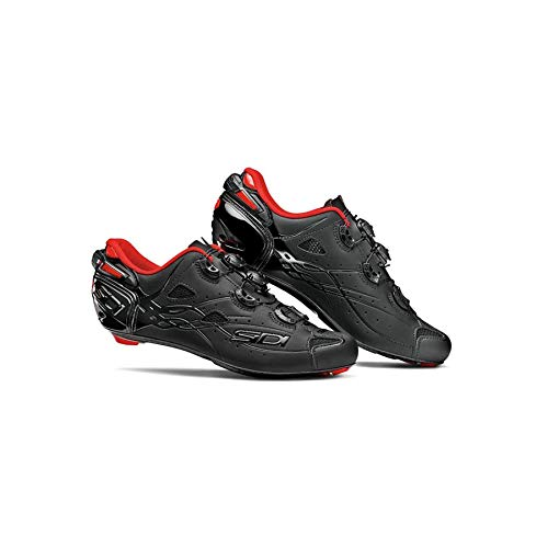 Image of Fixed Gear Bikes Sidi Men's Shot Cycling Shoes Black/Matte Black with Red Liner 41