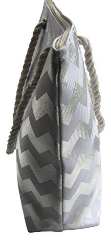 à zigzags sac tote Argent vacances Argent motifs chevrons de Lorenz Grand plage de wO05p0Sqv