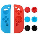 eXtremeRate® Silicone Case Thumb Stick Caps Gel Guards for Nintendo Switch Joy-Con Controller Protector Protection Kits Left Blue Right Red