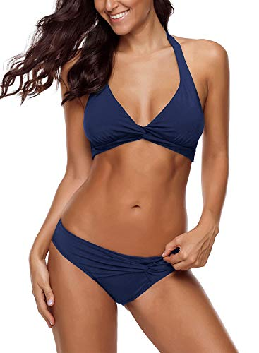 (LookbookStore Women's Summer Sexy Halter Self Tie Twist Knot Ruched Solid Navy Two Pieces Bikini Set Swimsuits Swimwear Size M 8 10)