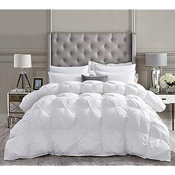 Luxurious All-Season Goose Down Comforter Queen Size Duvet Insert, Exquisite Pinch Pleat Design, Premium Baffle Box, 1200 Thread Count 100% Egyptian Cotton, 750+ Fill Power, 55 oz Fill Weight, White