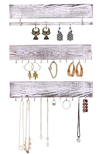 - Rustic Jewelry Display Organizer for Wall – Wall Mounted Jewelry Holder Organizer with Removable Bracelet Rod and 24 Hooks – Perfect Earrings, Necklaces and Bracelets Holder – Vintage Jewelry Display