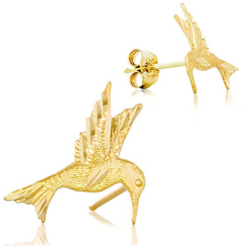 Solid 14K Yellow Gold Hummingbird Earrings | Animal Earrings with Intricate Detailing | 11.7mm x 11.3mm Hummingbirds Animals