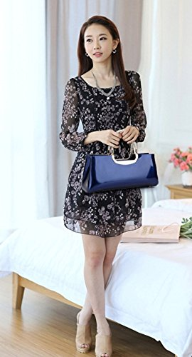 Hot Evening Purse ILISHOP Fashion blue Women's Leather Tote PU Dark Sale Elegant Bag Clutch 48qdwag