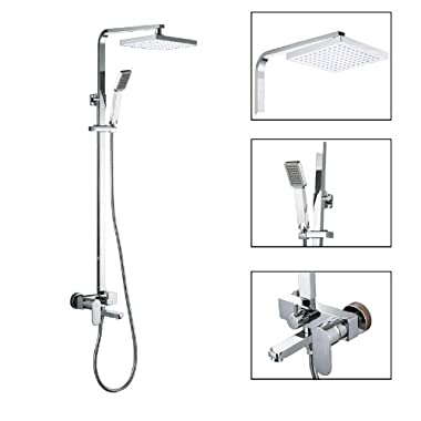 KES X6607A European Style Bathrube & Shower System Rainfall Shower Head Adjustable Shower Bar Wall Mount TRIPLE FUNCTION, Chrome, Retangular Bar