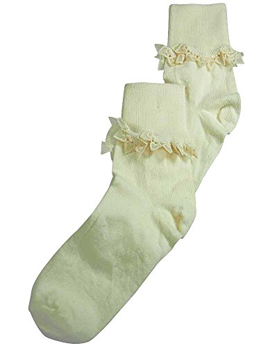 Price comparison product image Christian Dior - Big Girls Venice Lace Cuff Sock, Ivory 37061-XX-Large