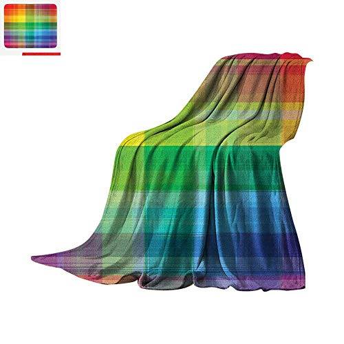(Luoiaax Vintage Rainbow Warm Microfiber All Season Blanket Retro Plaid Design Checkered Squares Rainbow Colored Geometric Pattern Summer Quilt Comforter 60