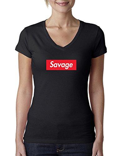 Wild Bobby Savage Logo | Womens Streetwear Junior Fit V-Neck Tee Graphic T-Shirt, Black, Small (Ape Logo T-shirt)
