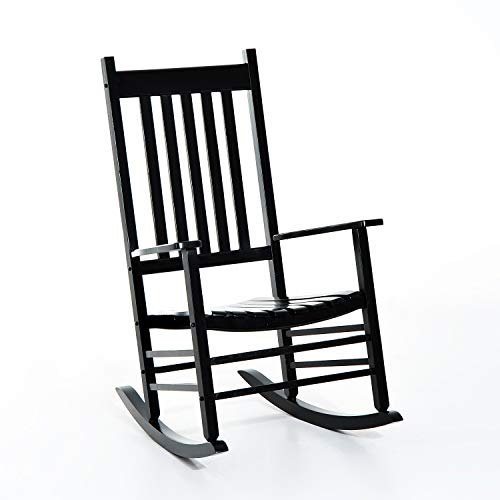Godyluck Wooden Outdoor Rocking Chair with Wide Seat, Armrests, and Sturdy Slatted Backrest Weight Capacity 350 LBS | Black