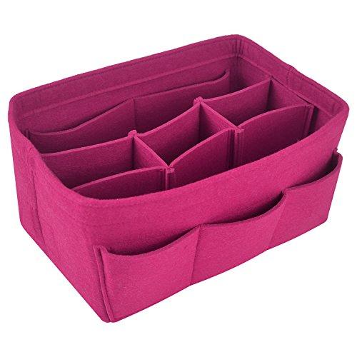 (Felt Fabric Purse Handbag Organizer Insert Bag for Tote Bag Handbag (X-Large, Rose Red))