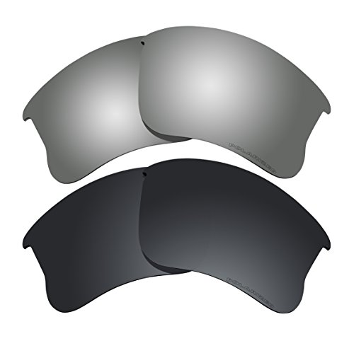 Polarized Lens Replacement Fit for Oakley Flak Jacket XLJ Sunglass 2 Pairs of Lenses Pack - Sunglasses Jacket Polarized Flak