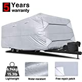 RVMasking Travel Trailer RV Cover 28'7'-31'6' L with Free Adhesive Repair Patch, Lightweight & Waterproof Camper Cover