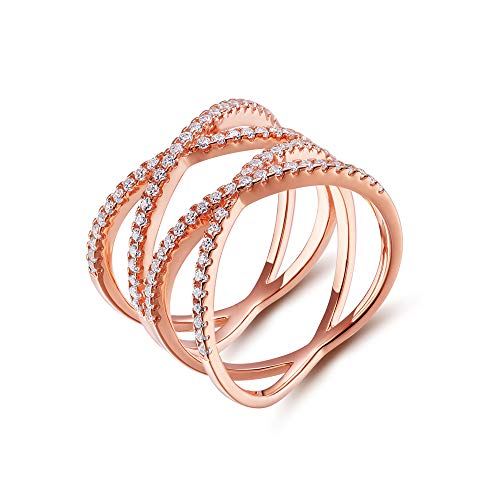 - SOMEN TUNGSTEN Double X Criss Cross Ring Sterling Silver Rose Gold Pave CZ Wedding Band