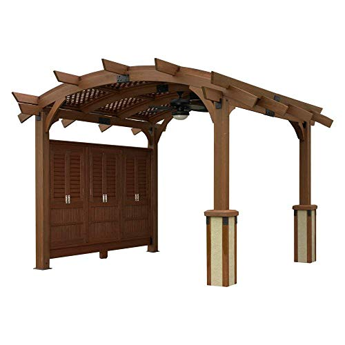- The Outdoor GreatRoom Company Sonoma 12 x 12 ft. Arched Wood Pergola with Lattice Roof and Privacy Wall (Assembly Required)