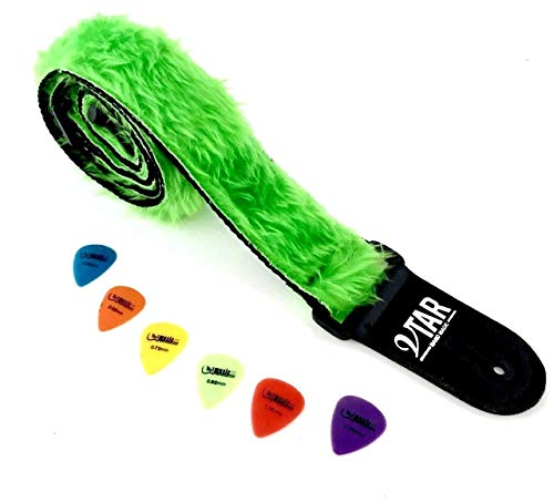 - Vtar Vegan Guitar Strap, Electric Acoustic Bass & 6 Free Pics (Green Faux Fur)
