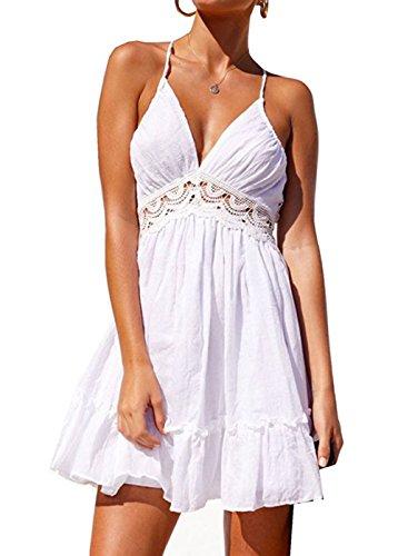 Dress Neck Lace Mini White Women V Beach CANMIYOU Summer Skater Backless Straps Spaghetti Dresses Sexy vRTnZaw