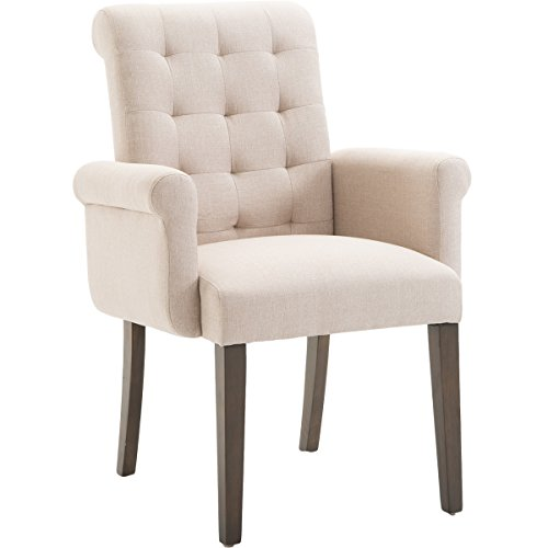 Harper&Bright Designs Stylish Fabric Tufted Dining Accent Chair with Armrest and Solid Wood Legs (Beige)