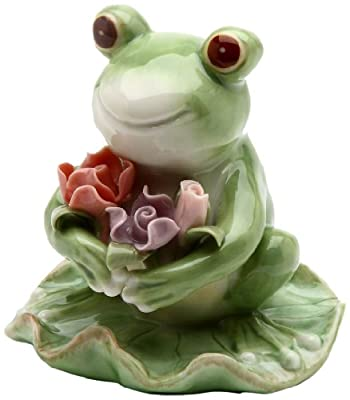 Appletree Design Frog with Flowers Figurine, 3-3/8-Inch Tall