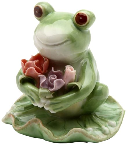 Appletree Design Frog with Flowers Figurine, 3-3/8-Inch Tall - Pad Lily Display Frog