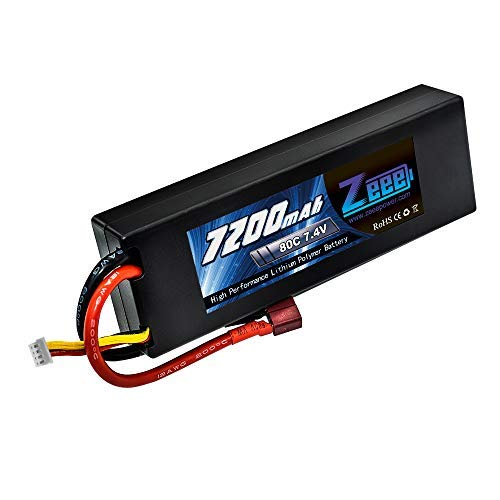 (Zeee 2s Lipo Battery 7.4V 80C 7200mAh Hardcase RC Battery with Deans T Style Connector for RC Vehicles Car Truck Losi Traxxas Slash Buggy Team Associated)