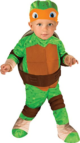 (Nickelodeon Baby Boys' Teenage Mutant Ninja Turtles Michelangelo Romper Shell and Headpiece, Green Toddler(12-24)