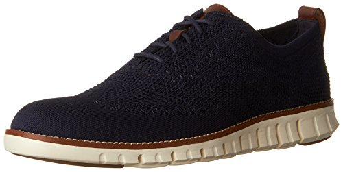 Cole Haan Men's Zerogrand Stitchlite Wingtip Oxford, Marine Blue/Ivory, 7.5 Medium US