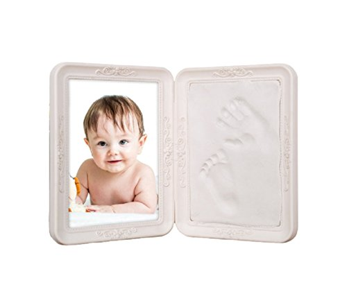 Baby Handprint and Footprint Keepsake Foldable Photo Frame, Non Toxic and Air Drying Clay White 2 Pack, Baby Shower Gift for Newborn Girls and Boys