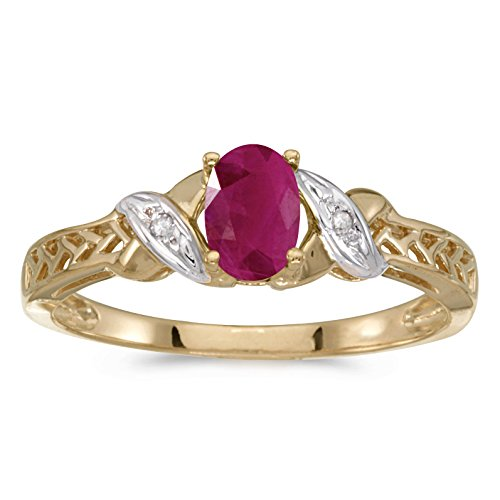 10k Yellow Gold Oval Ruby And Diamond Ring (Size 9)